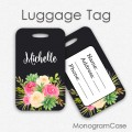 Black floral personalized travel tag